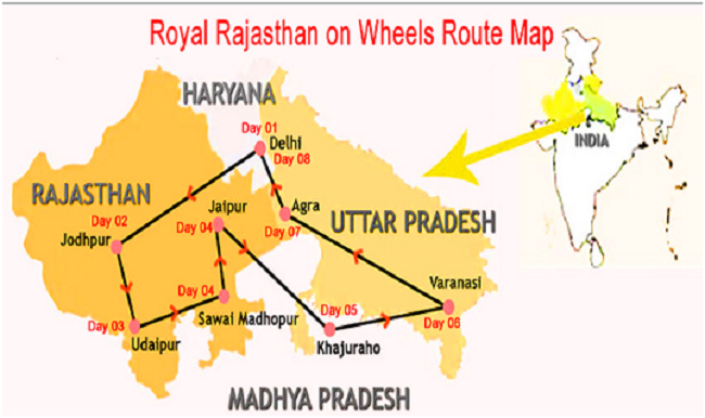 Royal Rajasthan On Wheels - Route Map